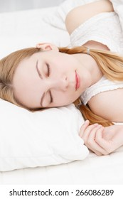 Caucasian woman sleeping