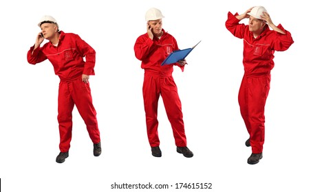 caucasian worker in red overalls and hardhat at work