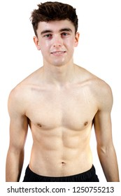 Caucasian young adult swimmer isolated on white background