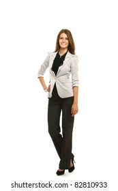Caucasian young female mode in suit.