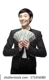 caucasian young happy smiling business woman holding money. isolated on white
