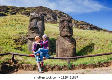Caucasian young loving hipster couple travelling on Easter Island, Chile