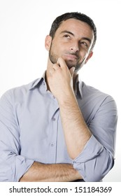 Caucasian Young Man with Beard Thinking Doubting and Considering a Decision Isolated in White Background