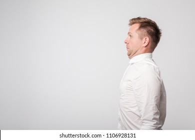 caucasian young man with a double chin. result of poor lifestyle. Copyspace for your text