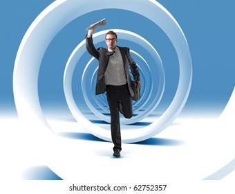 caucasian young man run in 3d spiral