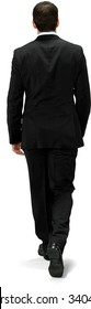 Caucasian young man with short dark brown hair in business formal outfit walking - Isolated