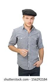 Caucasian young man wearing black flat cap