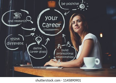 Caucasian young woman dreaming about career while work on portable netbook in coffee shop, female freelancer thinking about new ideas during using laptop computer. Infographic illustration of goals