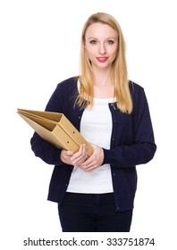 Caucasian young woman hold with folder