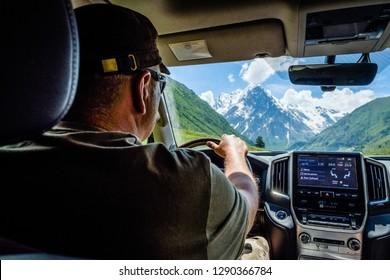 Caucasus, Kabardino-Balkaria, RUSSIA - June 19, 2018: off-road Toyota Land Cruiser 200 test 06.19.2018 in the Caucasus.