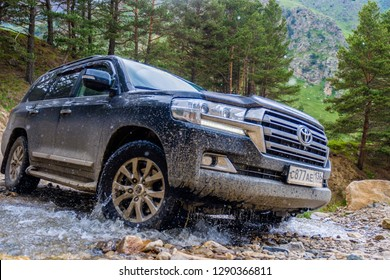 Caucasus, Kabardino-Balkaria, RUSSIA - June 19, 2018: off-road Toyota Land Cruiser 200 test 06.19.2018 in the Caucasus.