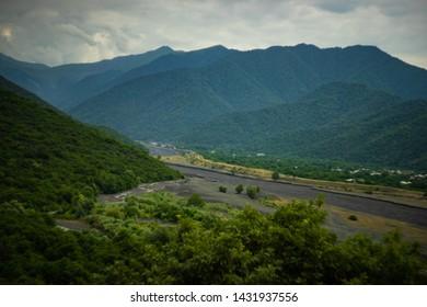 Caucasus mountain range close to Kvareli town in Kakheti area, Georgia
