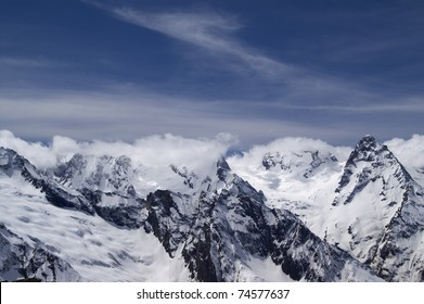 Caucasus Mountains in cloud. Dombay