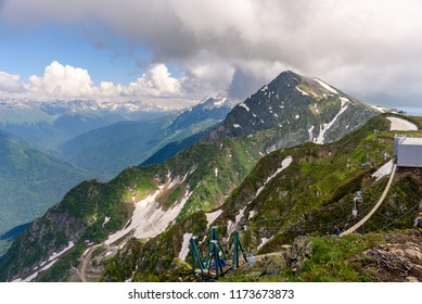 Caucasus mountains ridge . Sochi National Park. Krasnaya Polyana, Rosa peak, Sochi, Russia