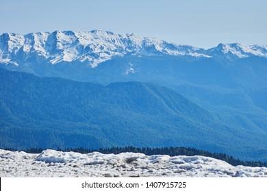 Caucasus mountains in Rosa peak area