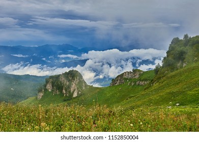 The Caucasus mountains in Russia. Beautiful mountain landscape. Nature and Mountain background.