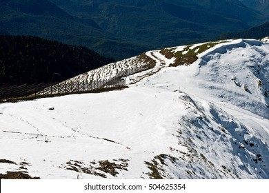 """Caucasus Mountains view from the """"Rosa Khutor""""/ Beautiful snow-capped mountains in the fall/ Krasnaya Polyana/ Sochi"""