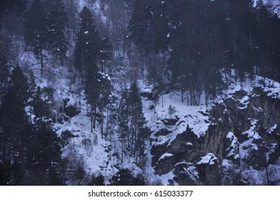 Caucasus. Ski resort and health resort. Skiing, snowboarding, hiking, recreation. Majestic nature.