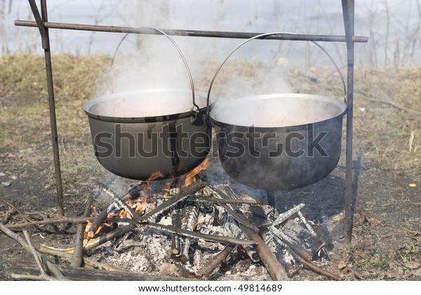 cauldron on the fire