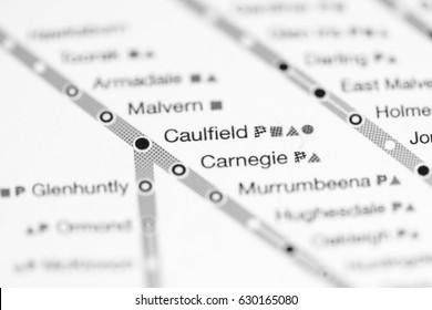Caulfield Station. Melbourne Metro map.