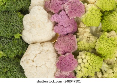 Cauliflower broccoli and roman cabbage texture