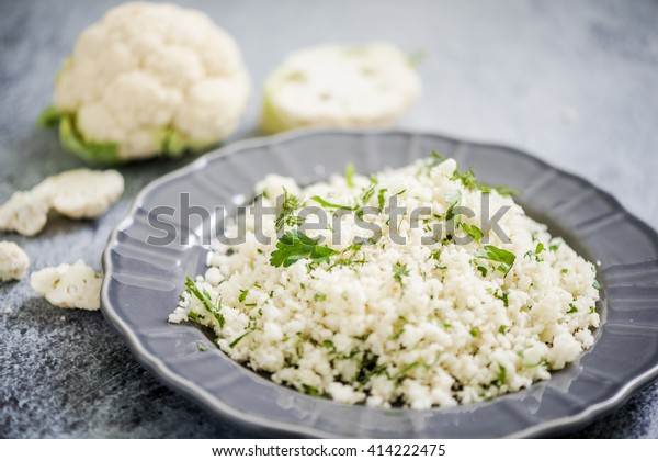 Cauliflower couscous, alternative food, dieting and clean eating concept