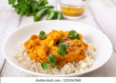Cauliflower and Lentil Curry served with rice