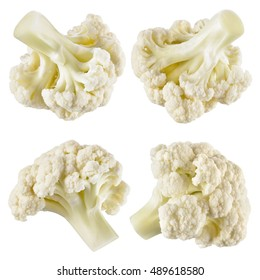 Cauliflower. Piece isolated on white. Collection. With clipping path.