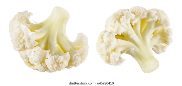 Cauliflower. Piece isolated on white background. Macro. Collection. With clipping path.