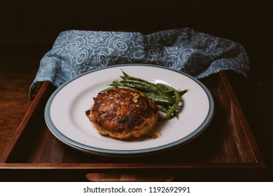 cauliflower turkey burger with grilled beans, a ketogenic diet meal
