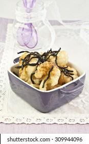 cauliflower vegetables with algae vegetarian food, vegan food, recipe vegetarian, seaweed