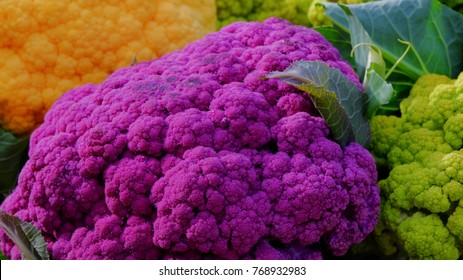 Cauliflowers on the counter in farmer market.