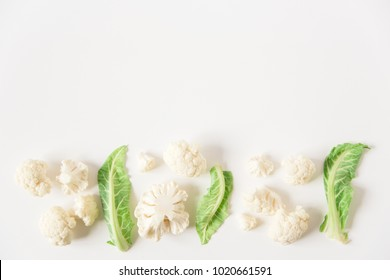 cauliflower.white background.copy space.top view