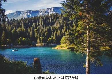Caumasee in Flims/Laax in Switzerland. Beautiful lake in the mountains