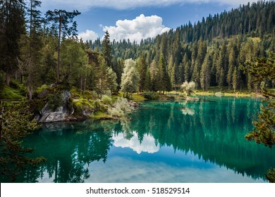 Caumasee lake near Flims in Grisons, Switzerland