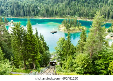 Caumasee in Switzerland lake with turquoise water