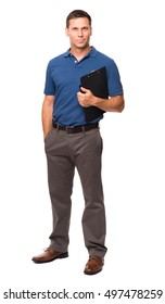 Causal businessman with clipboard on white