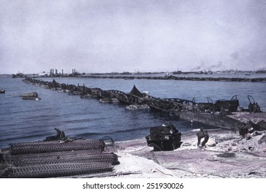 Causeway of an the artificial harbor on Omaha Beach after D-Day invasion of Normandy.