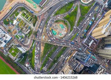 Causeway Bay, Hong Kong 07 May 2019: Top down view of traffic road in Hong Kong city