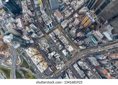 Causeway Bay, Hong Kong 22 February 2019: Aerial view of Hong Kong city