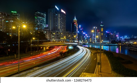 Causeway Bay, Hong Kong  - December 05, 2018 : Hong Kong central business district at night with light track