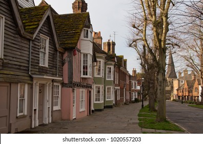 THE CAUSEWAY, HORSHAM, WEST SUSSEX, UK MARCH 2015. A row of houses along road in Horsham town.
