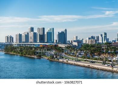 Causeway and Skyline of Miami