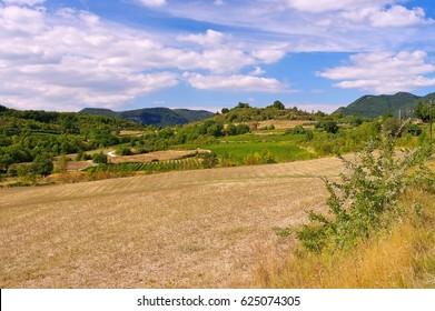 Causse du Larzac, plain landscape in Cevennes, southern France