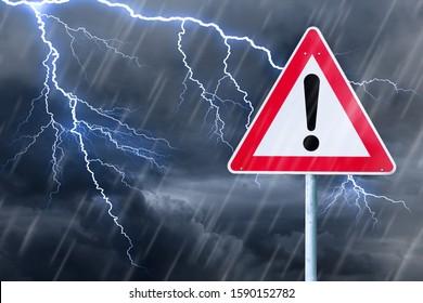 Caution - bad weather - thunderstorm