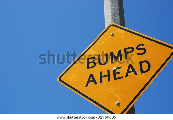 Caution bumps ahead sign, room for copy space