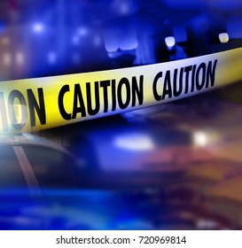 Caution do not cross tape. Blurred law enforcement and forensic background