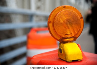 A Caution flashing lamp at hazard zone NYC