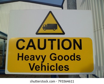 Caution Heavy Goods Vehicles sign