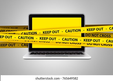 Caution and keep out warning tapes on computer with blank screen.